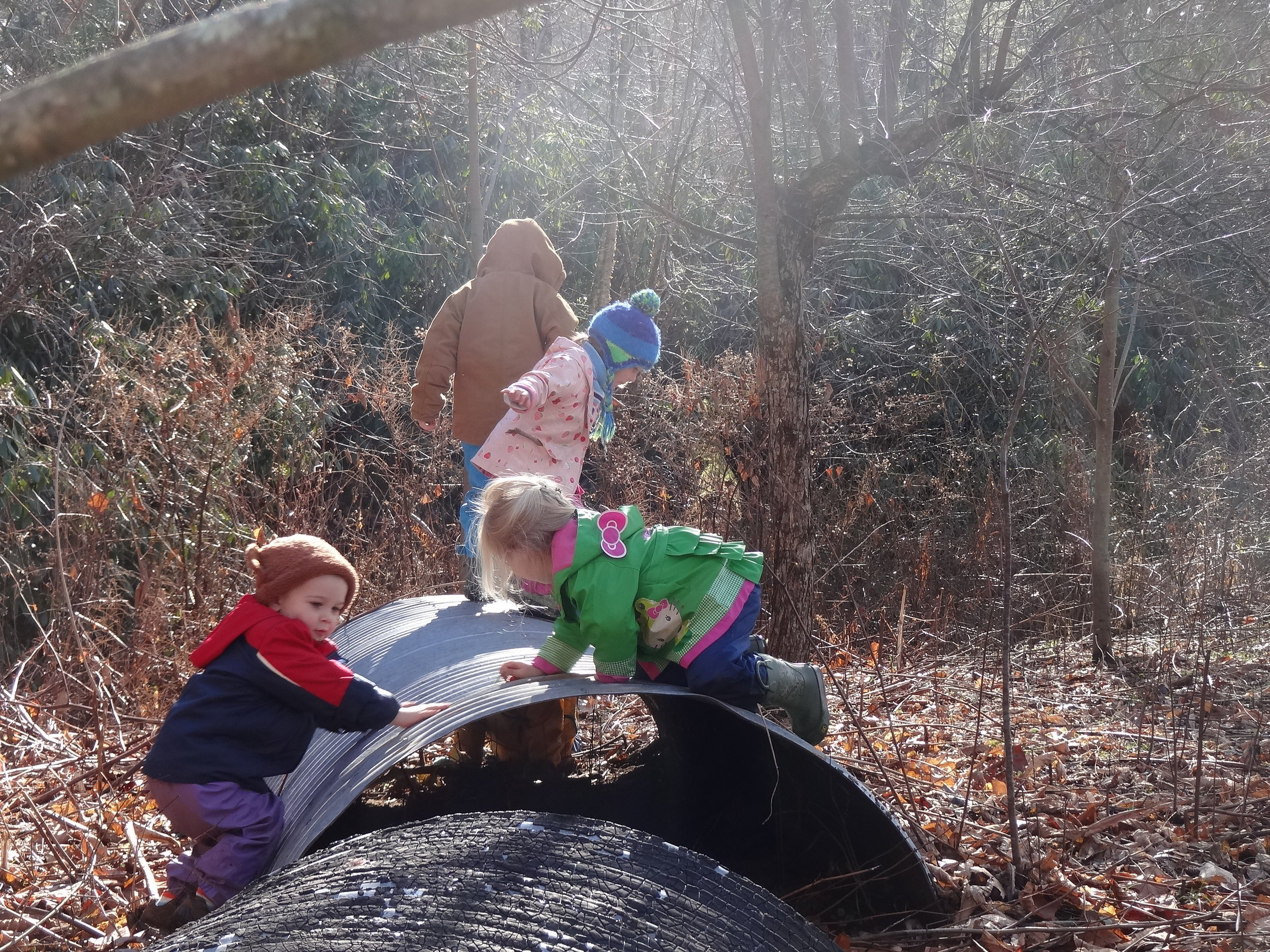 Children discovered yet another play area.  A tunnel and a climbing structure only available in winter.
