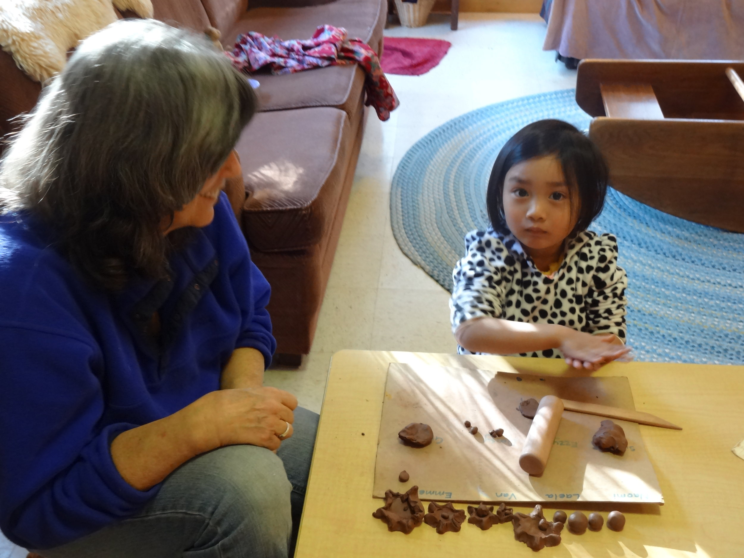 Meladee enjoyed clay project with Barb