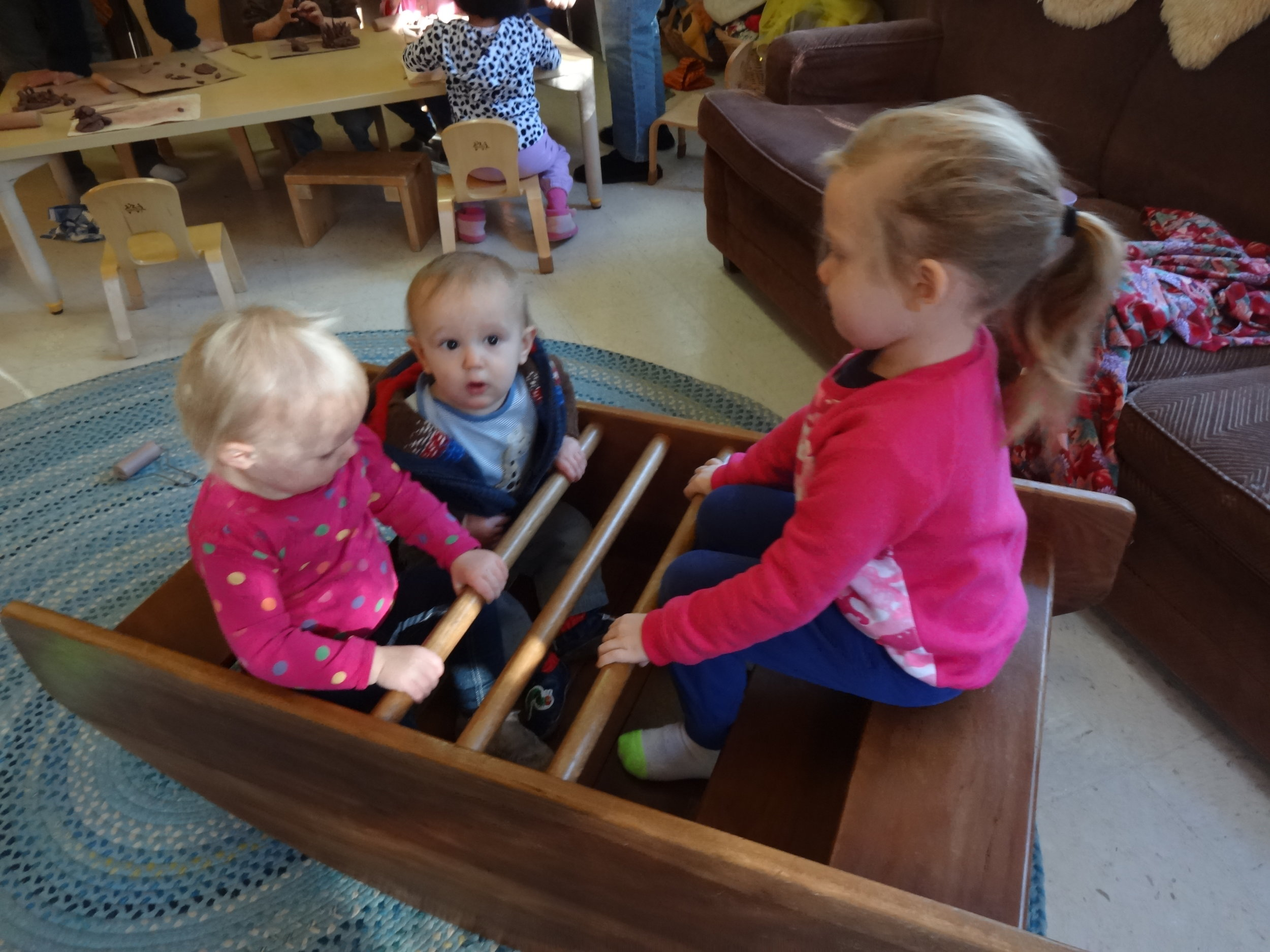 Rocking in a boat with Vera and Opal Claire