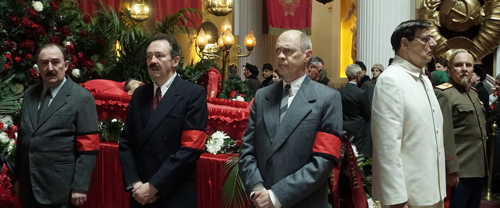 Left to Right: Dermot Crowley, Paul Whitehouse, Steve Buscemi, Jeffrey Tambor, and Paul Chahidi guard Stalin's corpse in  The Death of Stalin. Photo: Quad Productions