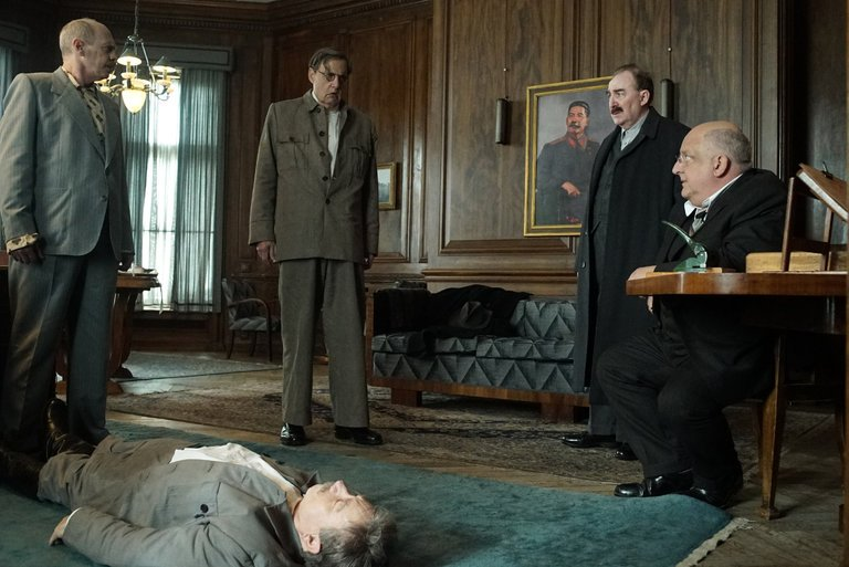 Nikita Kruschev (Steve Buscemi), Georgy Malenkov (Jeffrey Tambor), Lazar Kaganovich (Dermot Crowley), and Lavrentiy Beria (Simon Russel Beale) discover the body of Joseph Stalin.  Photo: Quad Productions