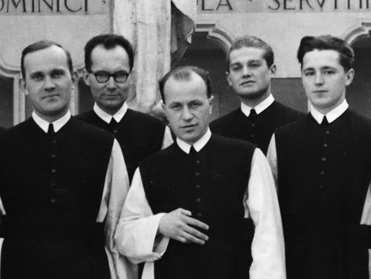 Five of the refugee Cistercians. Fr. Roch is second on the left.