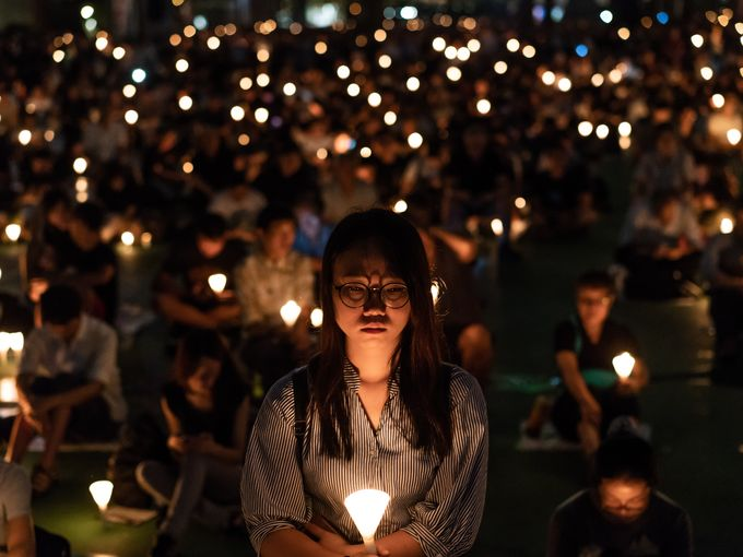The Hong Kong vigil. Picture: Anthony Kwan, Getty Images