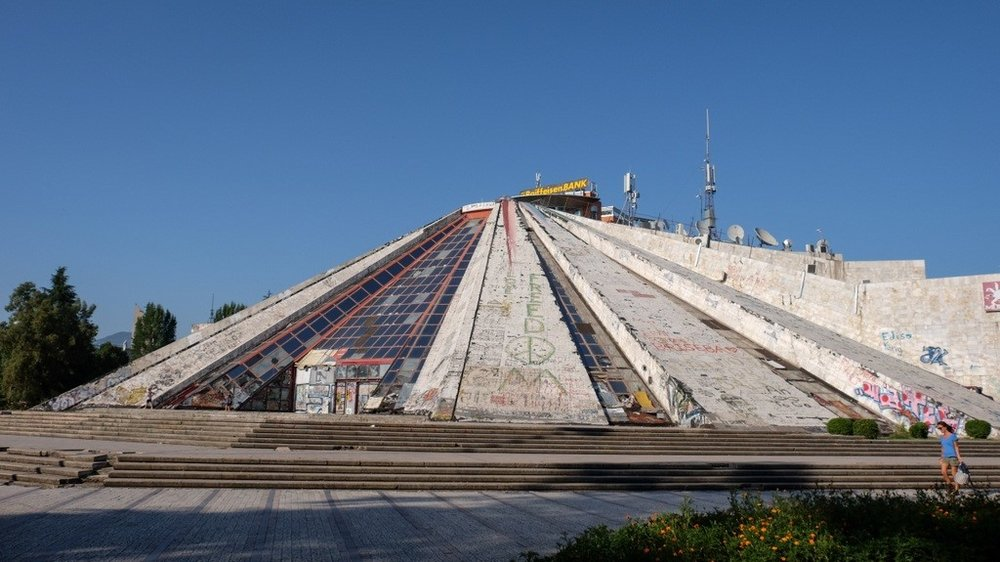 Built in 1988, the Pyramid was meant to glorify Hoxha's legacy. Today, it sits abandoned and decrepit.