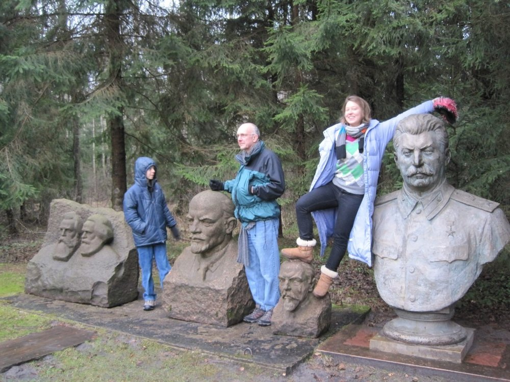 Stalin doesn't seem keen on being used as an armrest - Grutas Park.
