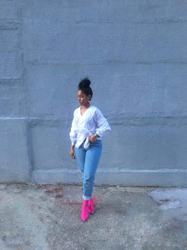Top: H&M, Jeans: Thrifted at L Train Vintage, Shoes: Top Shop, Earrings: H&M