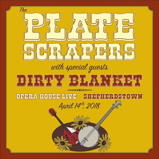 We officially support this show tonight! @theplatescrapers & @dirtyblanketband at @operahouselive! Poster design by @theblackestcrowstudio ! . . . #theblackestcrowstudio #frederickfolkfest #theplatescrapers #dirtyblanket #shepherdstown #shepherdstownwv #operahouselive #theblackestcrow #gigposter #gigposters #musicposter #musicposters #frederickartist #frederickart #FrederickMD #frederickdesigner