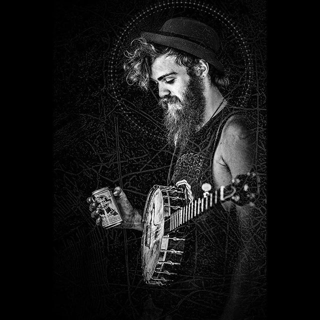 """Saint Gingey"" New from the URBAN ICON's series. Intentionally blurring the lines between Saints & Sinners. Joe Photo 2017. Gingey made a strong impression on me in 2014. He was traveling with a tribe of Dirty Kids through Reno. I was eager to photograph him playing his banjo down by the river. I sent him some of those images and 8 months later he invited to Tochtli Fest (a Folk/Punk festival in Los Angeles) where he was playing. This is a portrait we created at that event before he performed. Peace + Blessings to you brother. I hope our paths cross again soon."