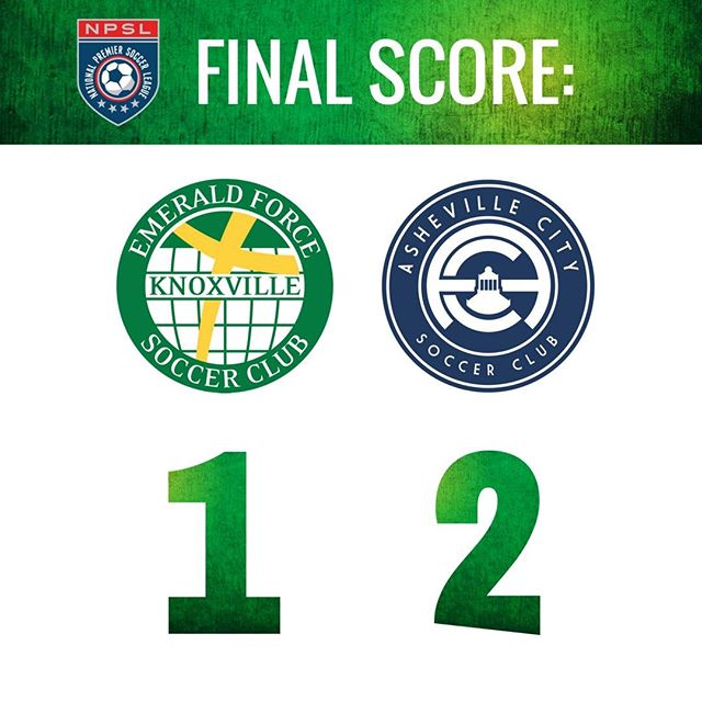 The Emerald Force men's win streak ends as they fall to Asheville City Soccer Club 2-1. #NPSL