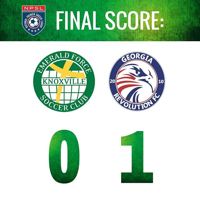 In the final home game of the season, the Emerald Force men's team fall to the Georgia Revolution 1-0. #NPSL