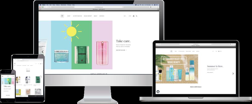 Mishe Beauty - Website redesign, branded content development.