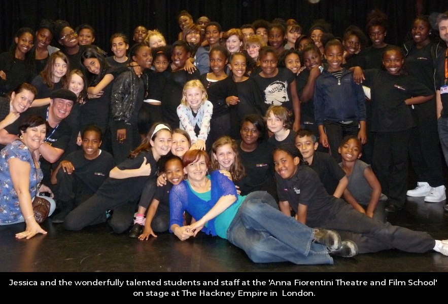 Jessica and the wonderfully talented students and staff at the 'Anna Fiorentini Theatre and Film School' on stage at The Hackney Empire in London.
