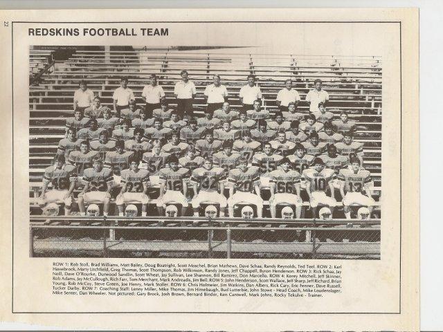 1985 Anderson Redskins Varsity Team