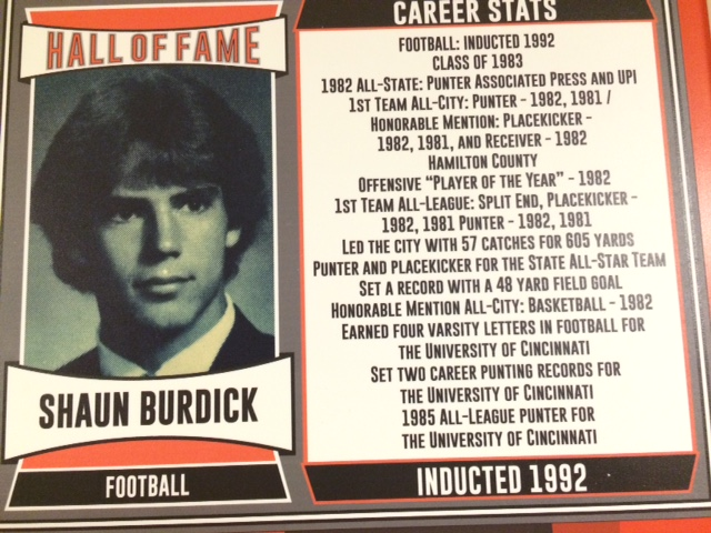 1992 Inductee, 1982 All-State Punter, Anderson Record with 48-yard FG, Set Two Career Punting Records at University of Cincinnati
