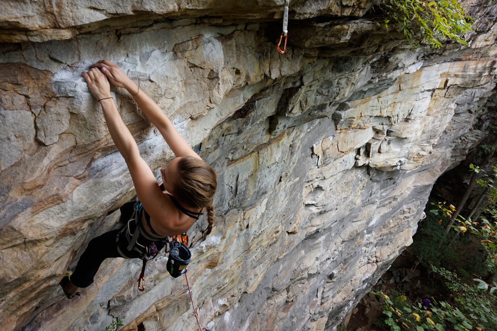 Britta Hardel climbing at Little River Canyon's Grey Wall. Photo by Elaine Elliott.