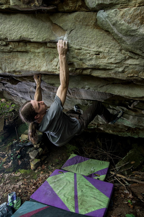 Drew Mayo climbing  Stinger . Photo by Micah Gentry.