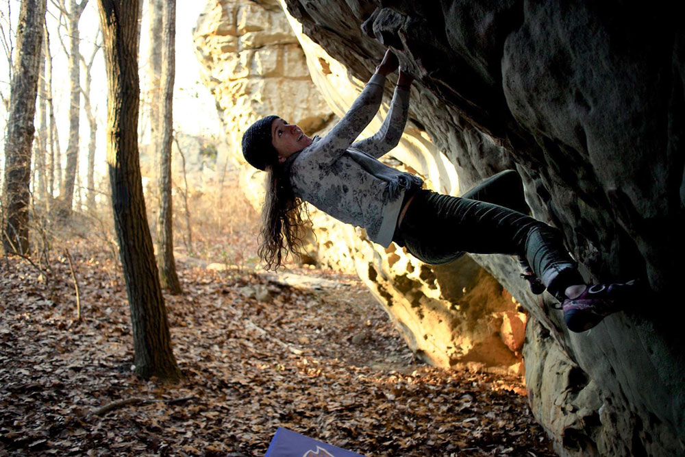 Climbing through the beginning moves of  Touchin' Cotton  at Rocktown. Photo by Sarah Anne Perry.