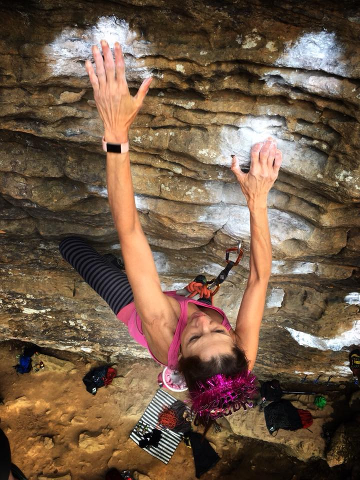 Margarita Martínez climbing  Ale 8 One  at the Motherlode on her 60th birthday. Photo by Marty Vogel.