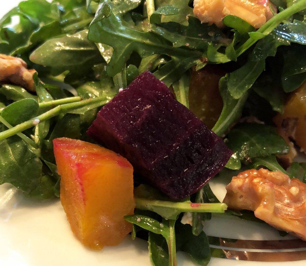 Arugula beet walnut goat cheese salad