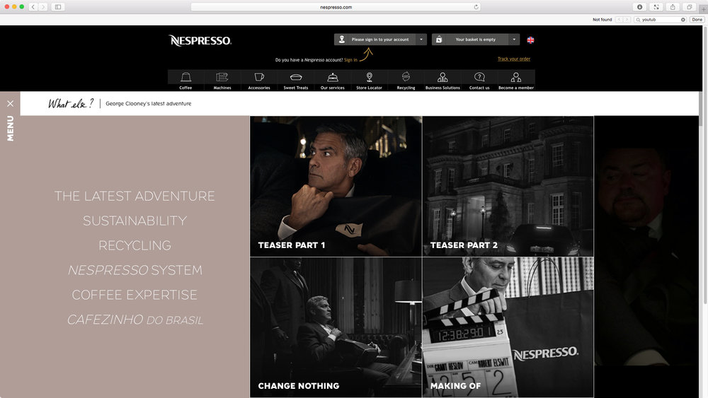 "Nespresso: ""Change Nothing"" featuring George Clooney - Global Campaign Website. Teaser videos."
