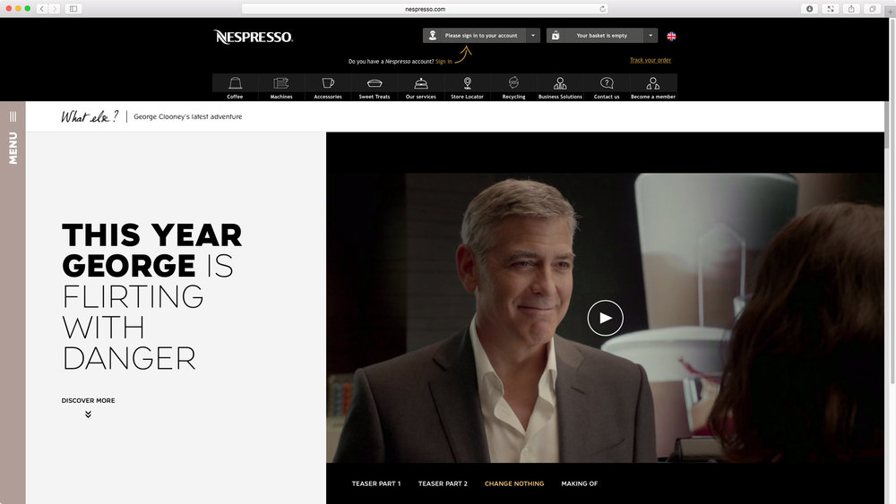 "Nespresso: ""Change Nothing"" featuring George Clooney - Global Campaign Website. This year George is flirting with danger."