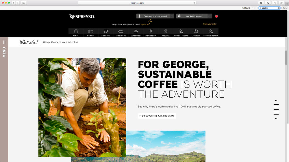 "Nespresso: ""Change Nothing"" featuring George Clooney - Global Campaign Website. For George, sustainable coffee is worth the adventure."