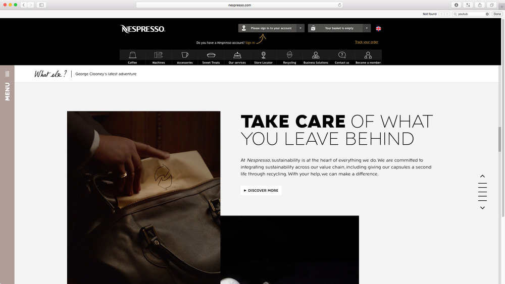 "Nespresso: ""Change Nothing"" featuring George Clooney - Global Campaign Website. Take care of what you leave behind. Nespresso and sustainability."
