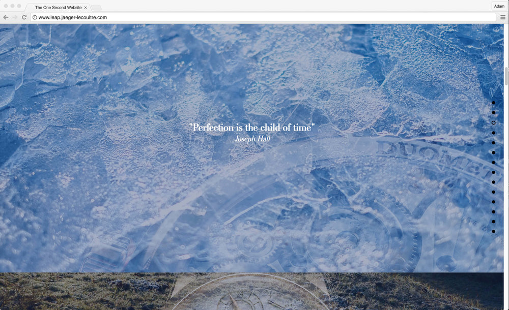"Jaeger-LeCoultre: 1 Second Website. ""Perfection is the child of time"" - Joseph Hall"