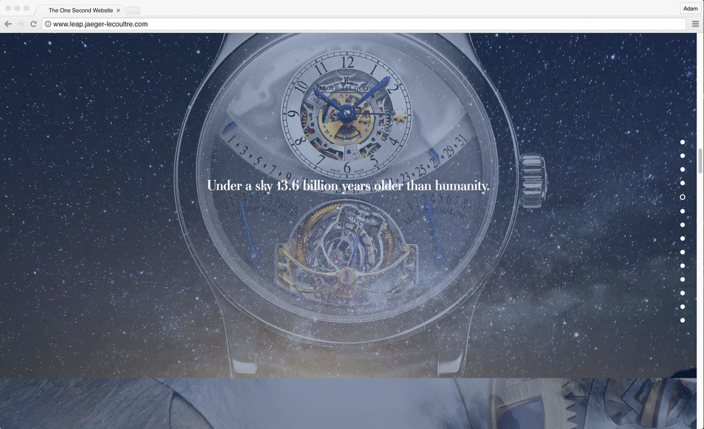 Jaeger-LeCoultre: 1 Second Website. Under a sky 13.6 billion years older than humanity.