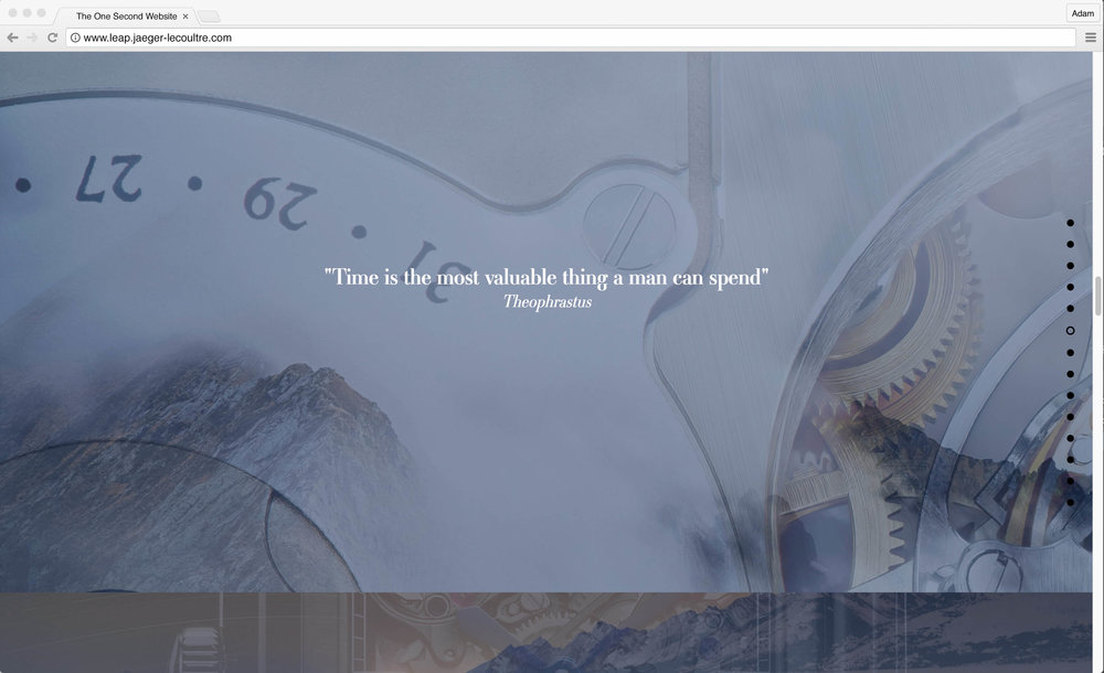 "Jaeger-LeCoultre: 1 Second Website. ""Time is the most valuable thing a man can spend"" - Theophrastus"