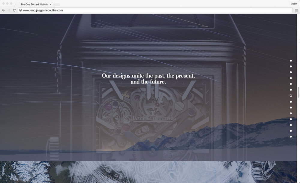 Jaeger-LeCoultre: 1 Second Website. Our designs unite the past, the present, and the future.