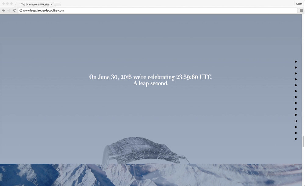 Jaeger-LeCoultre: 1 Second Website. On June 2015 we're celebrating 23:59:60 UTC. A leap second.