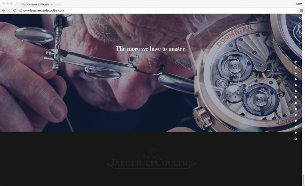 Jaeger-LeCoultre: 1 Second Website. The more we have to master.
