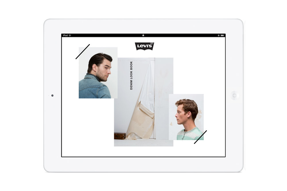 Pages from the in-store Levi's: Look Book iPad app. Fashion photos.