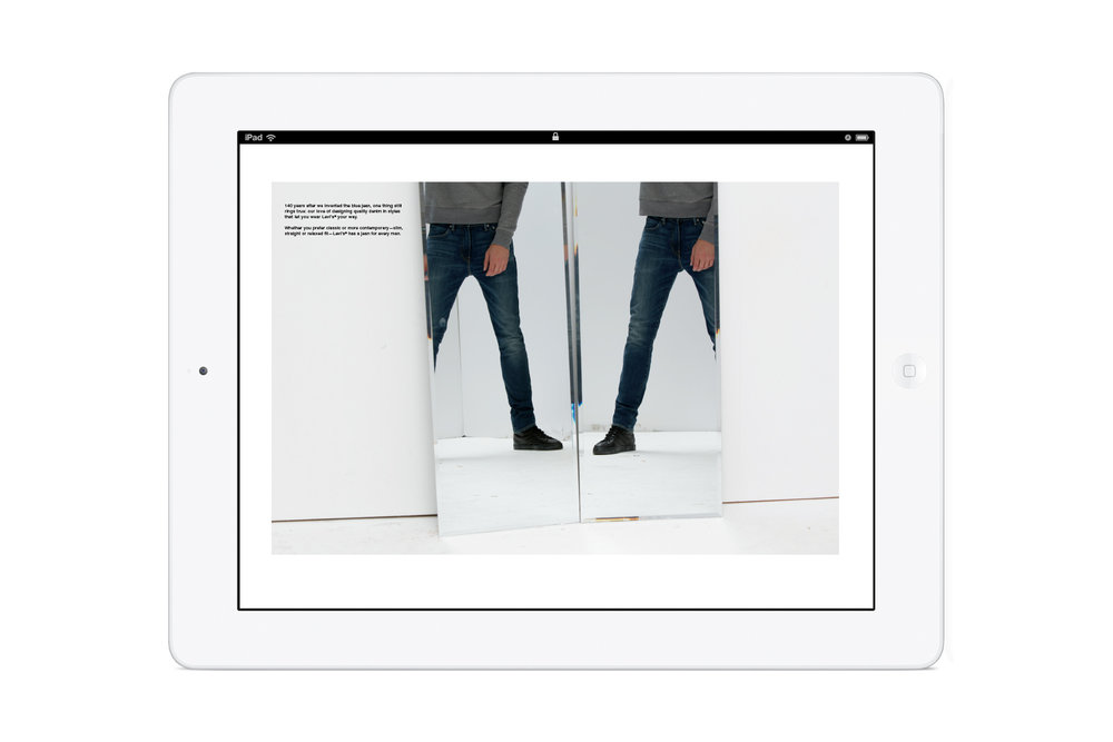 Pages from the in-store Levi's: Look Book iPad app. Men's denim.