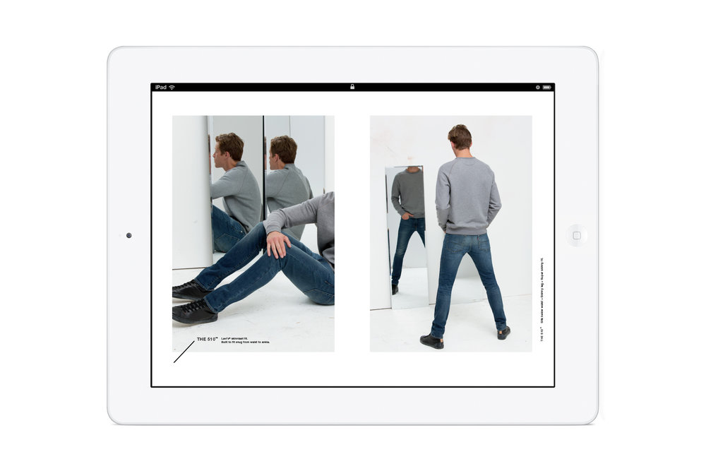 Pages from the in-store Levi's: Look Book iPad app. Men's 510 denim.