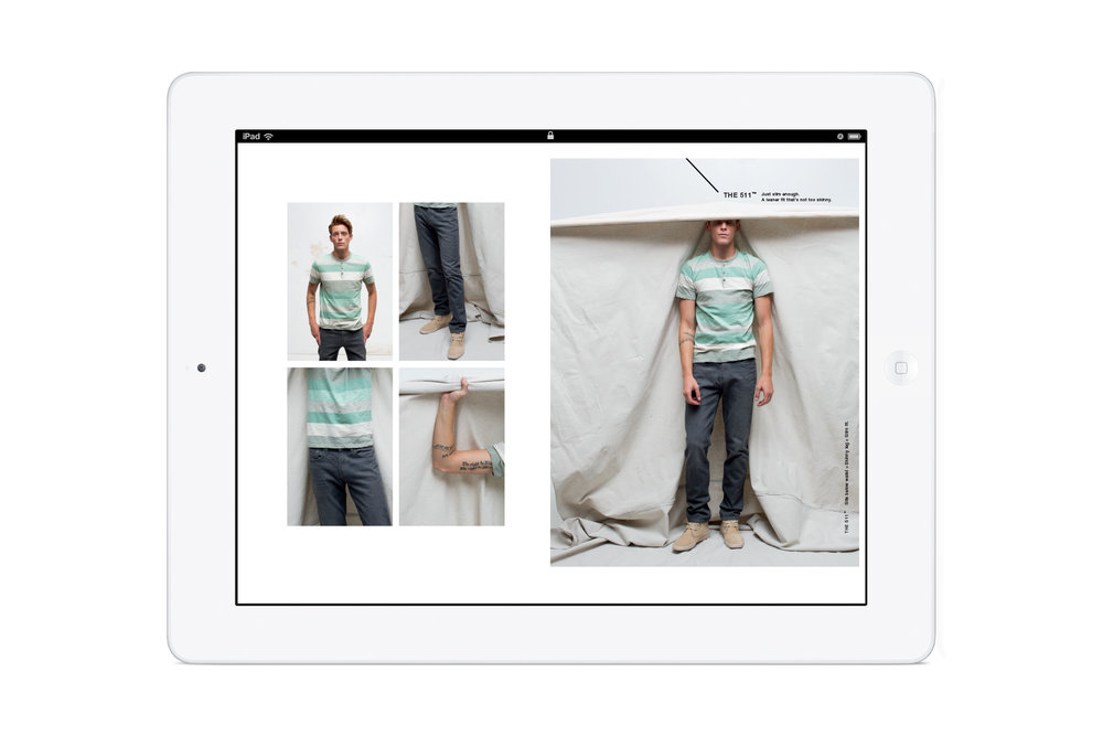 Pages from the in-store Levi's: Look Book iPad app. Men's 511 denim.
