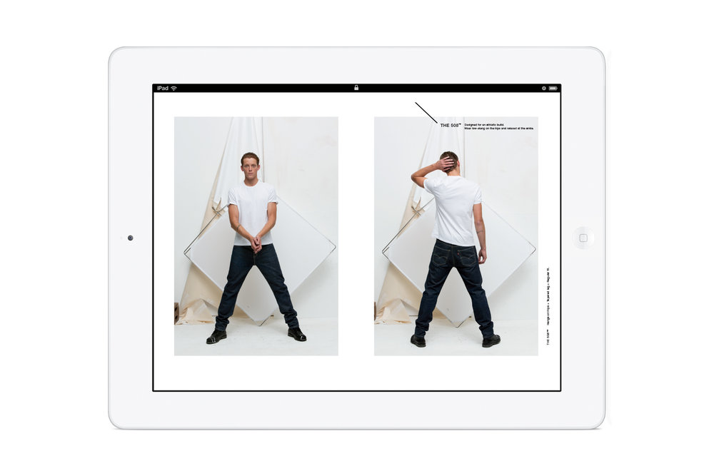 Pages from the in-store Levi's: Look Book iPad app. Men's 508 jeans.