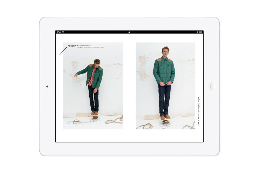 Pages from the in-store Levi's: Look Book iPad app. Men's 514 jeans.