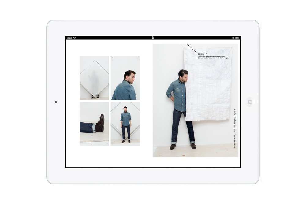Pages from the in-store Levi's: Look Book iPad app. Men's 501 jeans.