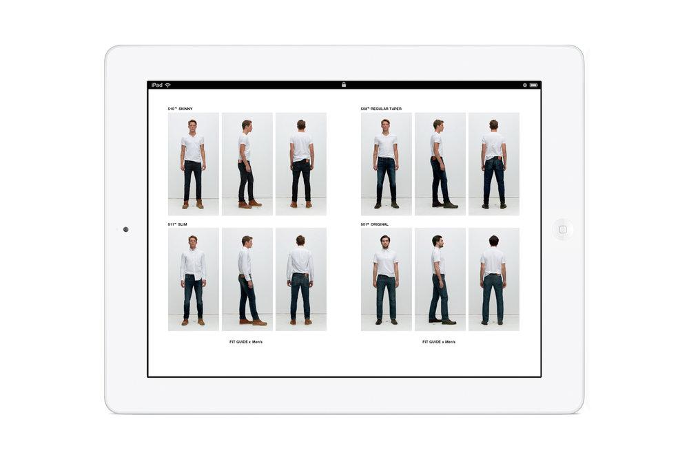 Pages from the in-store Levi's: Look Book iPad app. Men's 510 skinny jean. Men's 511 Slim jeans. Men's 508 regular taper jeans. Men's 501 original jeans.
