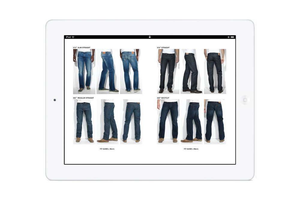Pages from the in-store Levi's: Look Book iPad app. Men's 505 regular straight jeans. Men's 513 slim straight jeans. Men's 514 straight jeans. Men's 503 bootcut jeans.