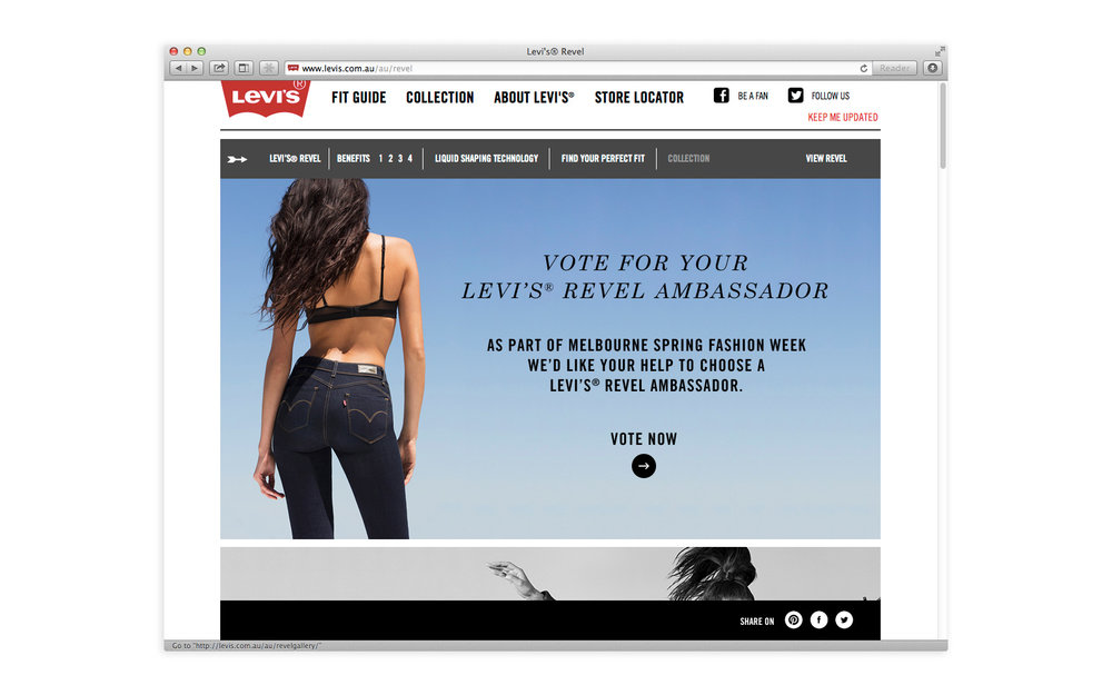 Levi's Revel website homepage