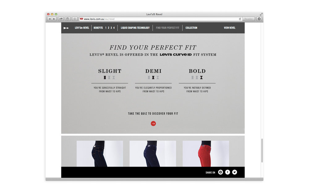 Levi's Revel website homepage - Find your perfect fit. Slight. Demi. Bold.