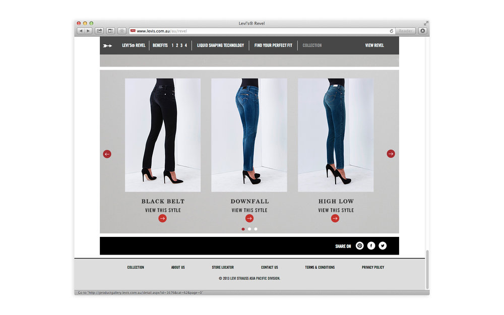 Levi's Revel website homepage - Fit guide