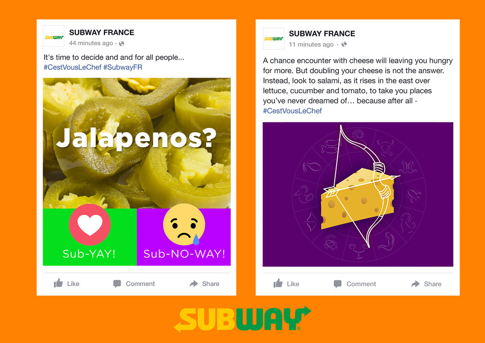 Facebook posts: Jalapeños and Subway Star Sign. #SubwayFR #CestVousLeChef