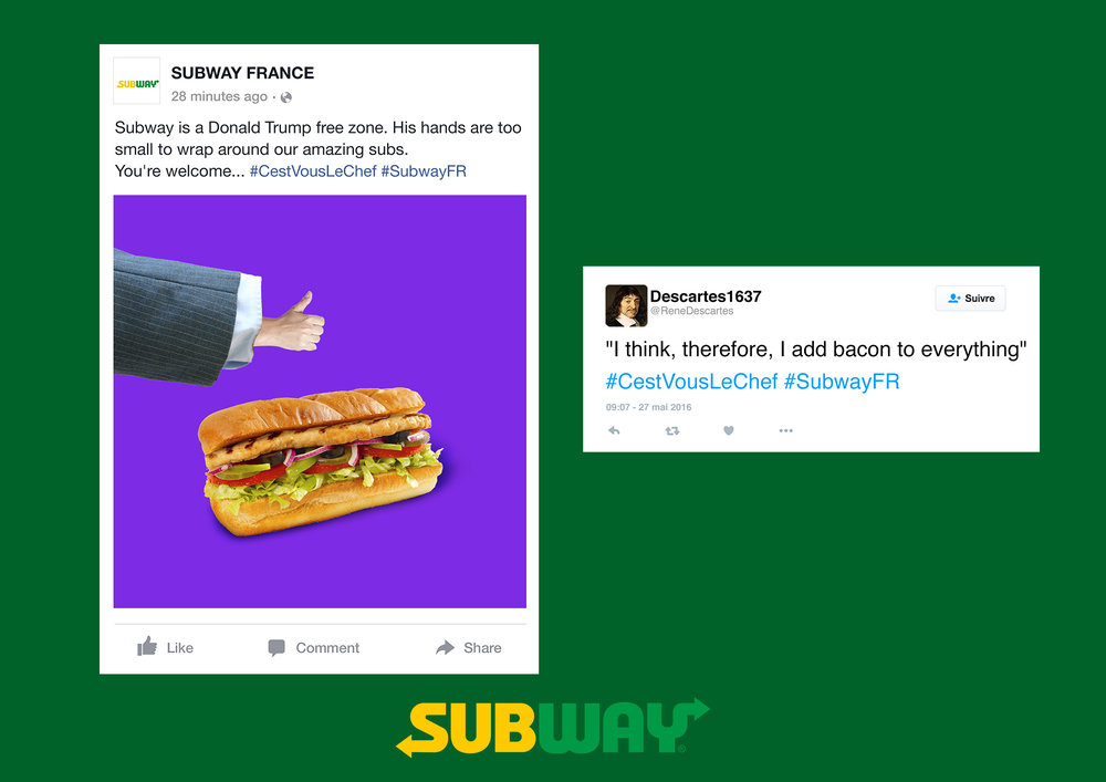 Facebook posts: Subway is a Donald Trump free zone. His hands are too small to wrap around our amazing subs. You're welcome... #SubwayFR #CestVousLeChef
