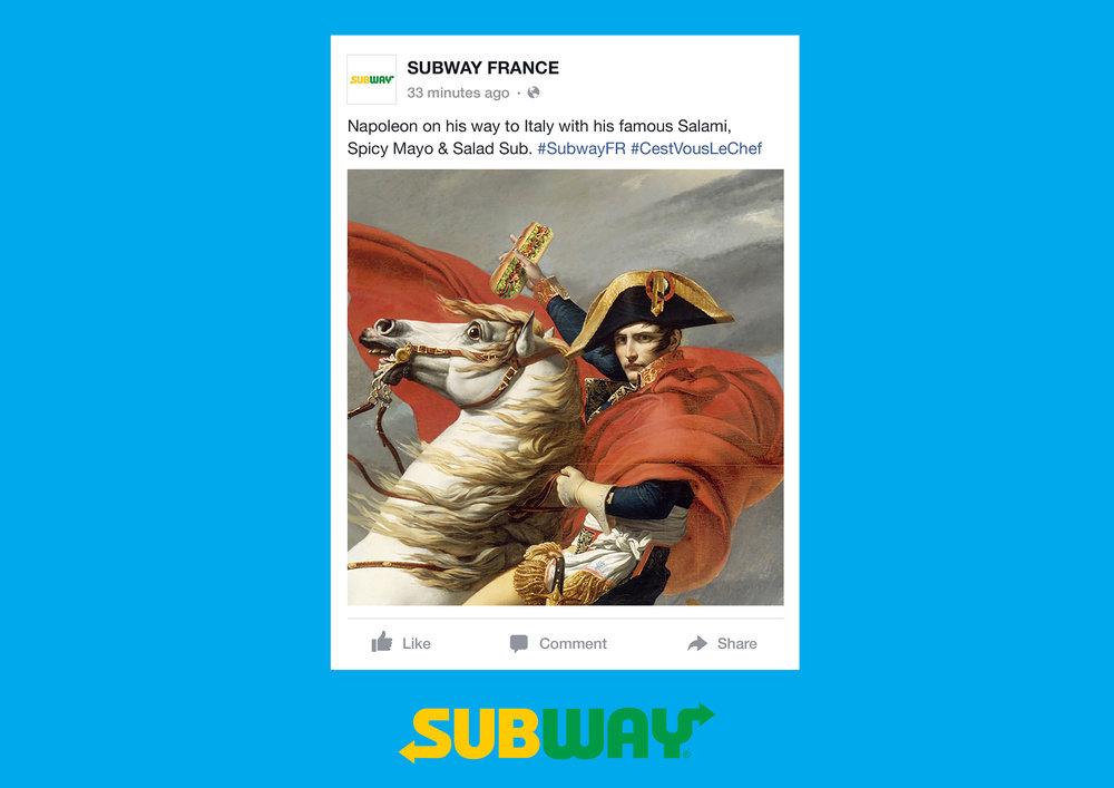 Facebook post: Napoleon on this was to Italy with his famous Salami, Spicy Mayo & Salad Sub. #SubwayFR #CestVousLeChef