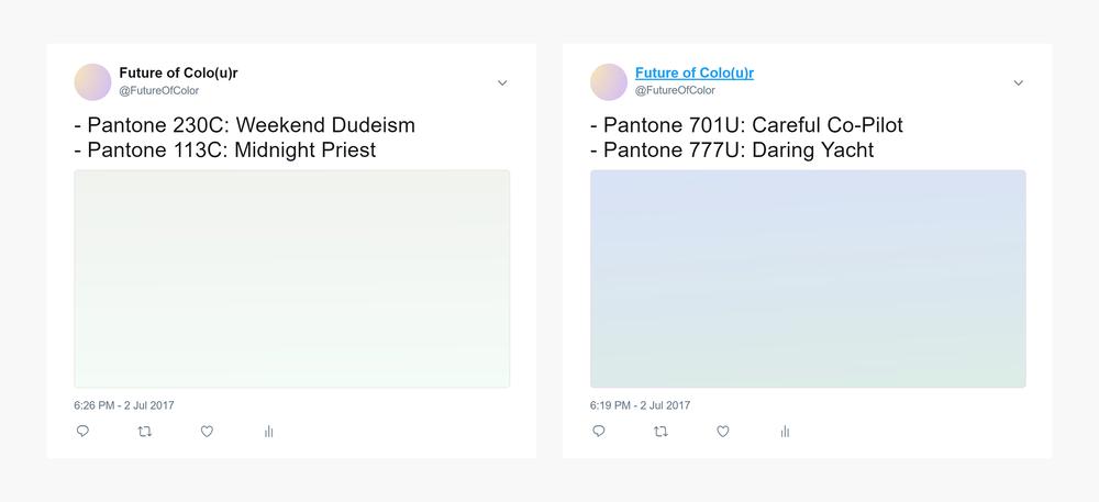 Screenshots of the Future of Colo(u)r twitter bot. Pantone 230C: Weekend Dudeism & Pantone 113C: Midnight Priest. Pantone 701U: Careful Co-Pilot & Pantone 777U Daring Yacht.