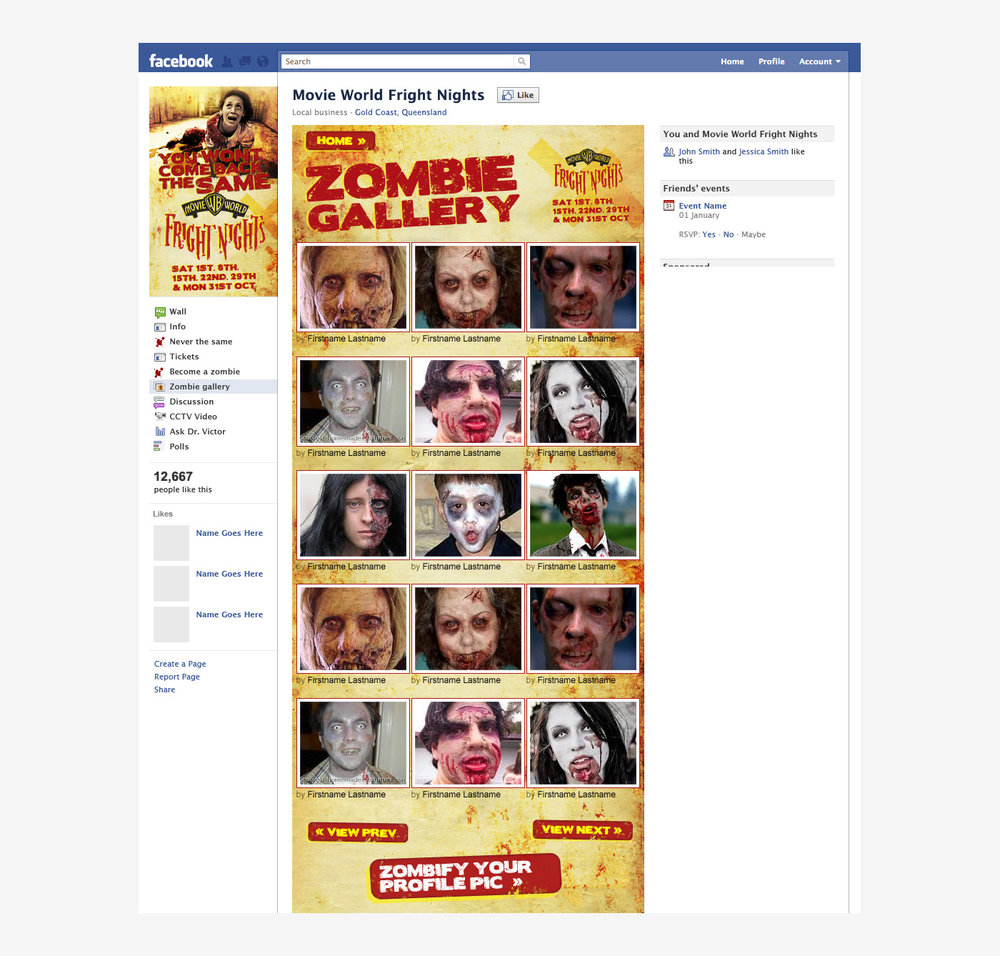 Warner Bros. Movie World: Fright Nights - Facebook App Zombify Gallery